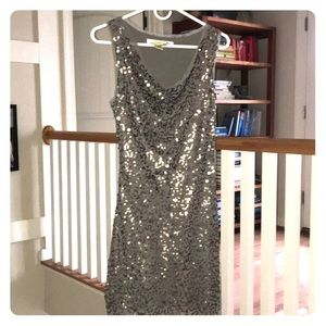 Max Studio smoky grey sequined cocktail dress